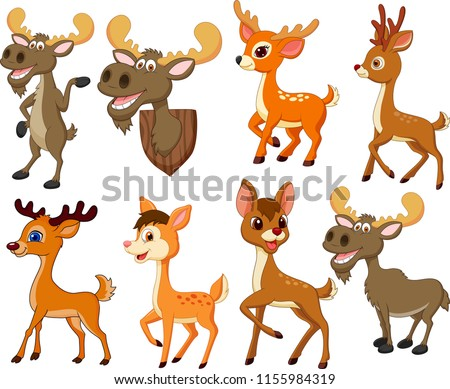Cartoon deer and moose collection set #1155984319