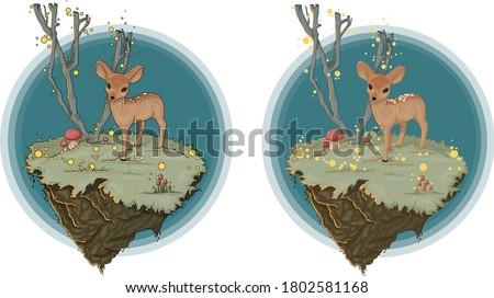 cartoon deer in a fairy forest