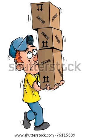 Cartoon delivery man carrying a stack of boxes. Isolated on white