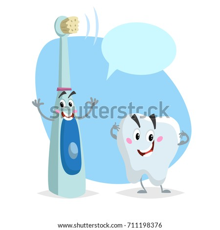 Cartoon dental care characters. Smiling healthy strong tooth and electric ultrasonic happy toothbrush. Healthcare kid vector illustration with dummy speech bubble. #711198376