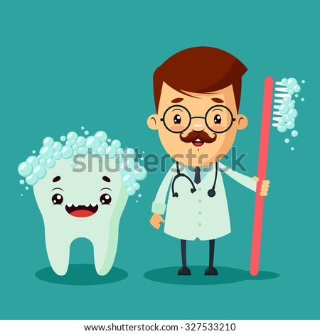 Cartoon Dentist and Big Cute Tooth. Colorful Vector Illustration