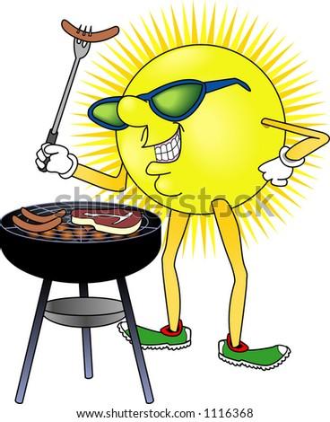 Cartoon depicting outdoor activity (BBQ) - stock vector