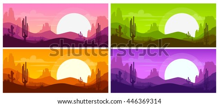 cartoon desert landscape with
