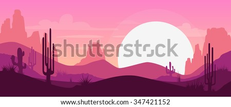 cartoon desert landscape with...