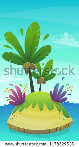 cartoon desert tropic island