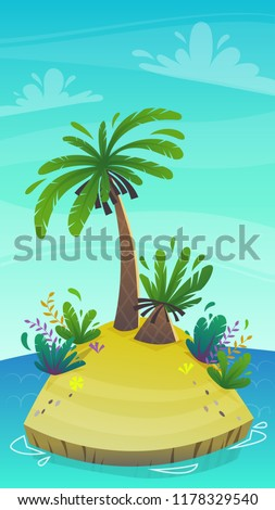 cartoon desert tropic island