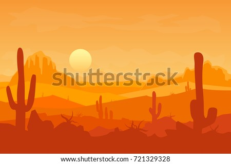 cartoon desert with silhouettes