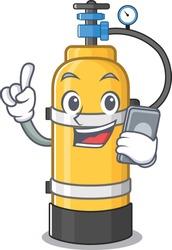 Cartoon design of oxygen cylinder speaking on a phone