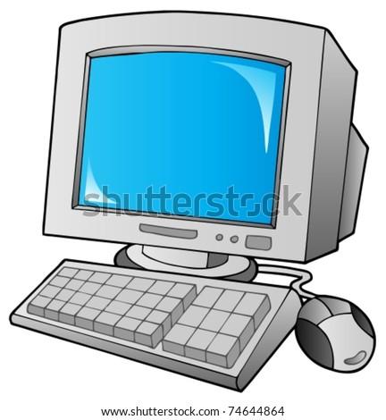 Cartoon desktop computer - vector illustration. - stock vector
