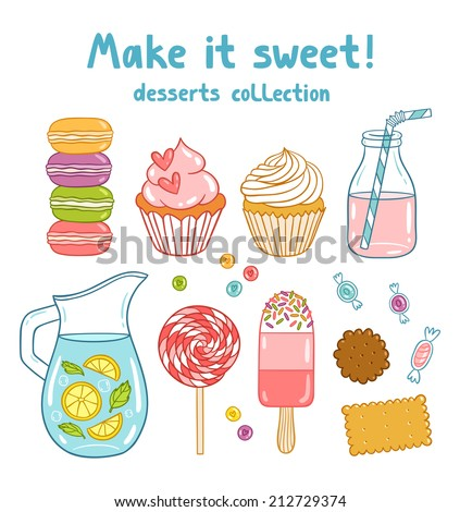 cartoon desserts  sweets and