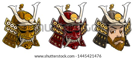 Cartoon detailed japanese samurai helmet with scary mask, horns and demon face. Isolated on white background. Vector icon set.