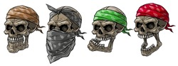 Cartoon detailed realistic colorful scary human biker or rapper skulls with bandana and scarf. Isolated on white background. Vector icon set.