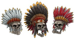Cartoon detailed realistic colorful scary human skulls in native american indian chief headdress with feathers. Isolated on white background. Vector icon set.