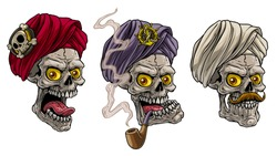 Cartoon detailed realistic colorful scary human skulls in traditional indian turban with pirate badge and golden anchor. Isolated on white background. Vector icon set.