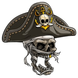 Cartoon detailed realistic colorful scary mummy skull in tricorn pirate hat with golden anchor and swords. Isolated on white background. Vector icon.