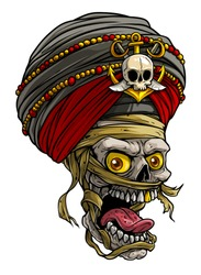 Cartoon detailed realistic colorful scary mummy skulls in traditional indian turban with pirate badge, golden anchor and swords. Isolated on white background. Vector icon.