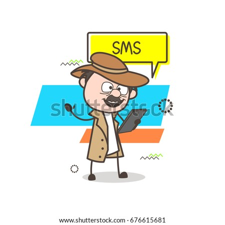 cartoon detective reading sms