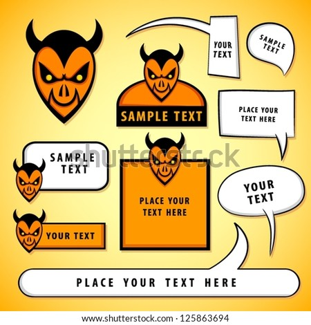 Cartoon devil heads with blank signs and speech bubbles.