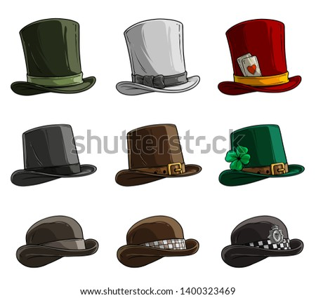 Cartoon different caps and hats. Old and retro. Gentlemans and Magicians. Policemens and Irish. Isolated on white background. Vector icon set.