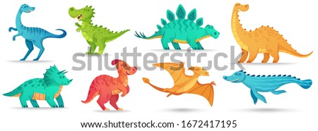 Cartoon dino. Cute dinosaur, funny ancient brontosaurus and green triceratops. Comic dinosaurs vector illustration set. Dinosaur and monster, comic prehistoric reptile