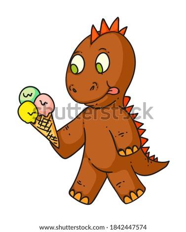 cartoon dinosaur hungry