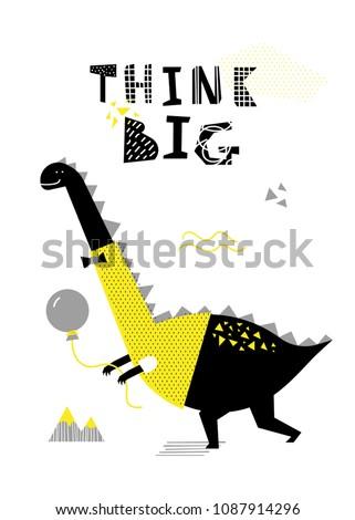 cartoon dinosaur poster vector
