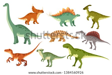 Cartoon dinosaur set. Cute dinosaurs icon collection. Colored predators and herbivores. Flat vector illustration isolated on white background. Stock foto ©