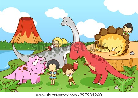 cartoon dinosaur world of