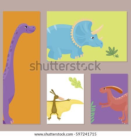 cartoon dinosaurs vector