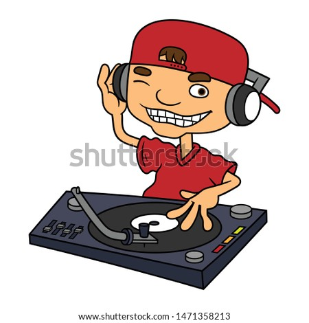 Cartoon Disc Jockey Vector Illustration