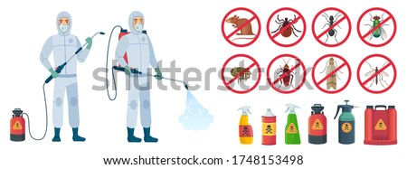 Cartoon disinfector. Disinfectors characters in protective suits with poison spray bottle. Get rid of rats and insects vector illustration set. Pest control, insect, chemical poison equipment Foto d'archivio ©