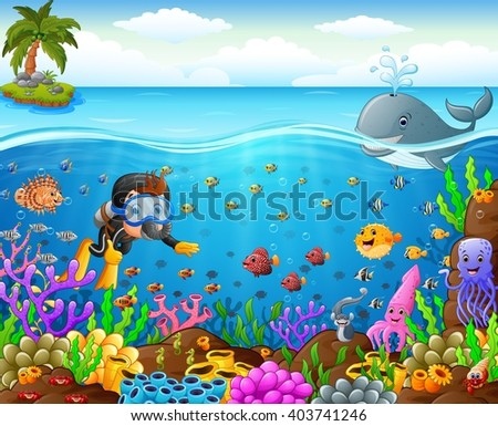 stock vector cartoon diver under the sea 403741246 - Каталог — Фотообои «Для детской»