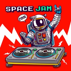 cartoon dj astronaut illustration tee shirt wallpaper logo poster print graphic design