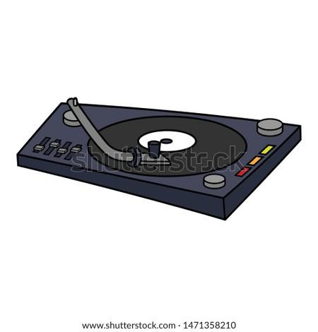 Cartoon DJ Turntable Vector Illustration