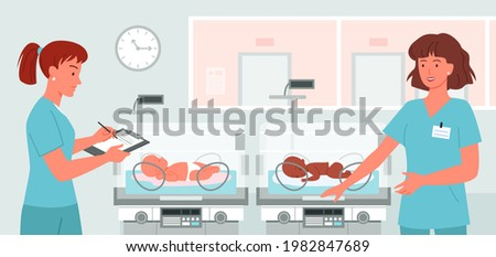 Cartoon doctor neonatologist at newborn baby background. Hospital ward with preterm baby incubators, prematurity concept, kinde nurses take care about cute babies. Stock photo ©