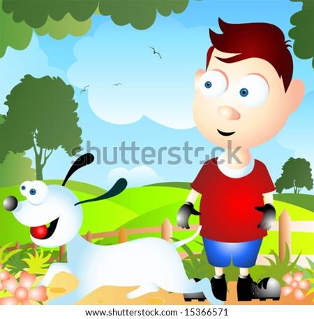 cartoon dog and boy - stock vector