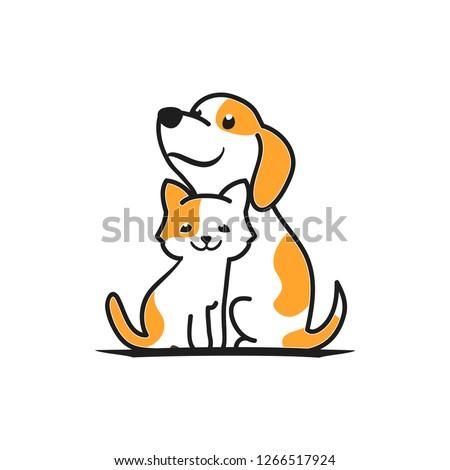 cartoon dog and cat logo made