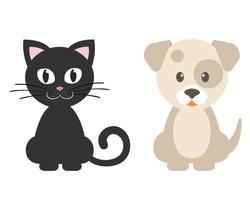 cartoon dog and cute kitty