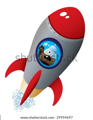 cartoon dog astronaut in old