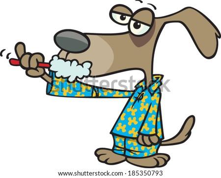 cartoon dog brushing his teeth