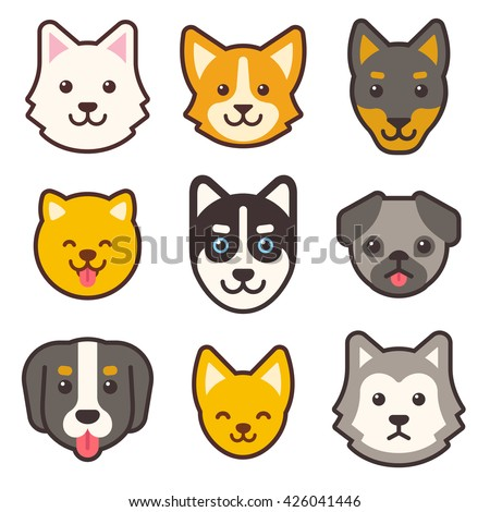 Cartoon dog faces set. Different breeds of dogs. Husky, corgi, pug, chihuahua, doberman, etc. Cute flat stickers set.