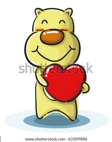 Cartoon Dog Holding Heart Valentine Stock Vector ...