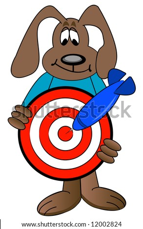 cartoon dog holding target with blue dart hitting the mark - vector
