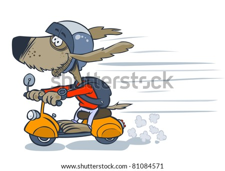 cartoon dog on scooter