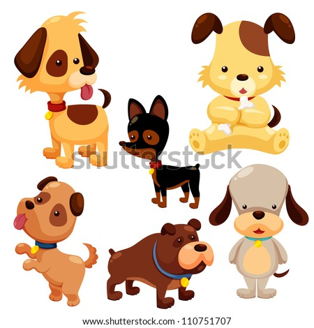 Cartoon dog set - stock vector