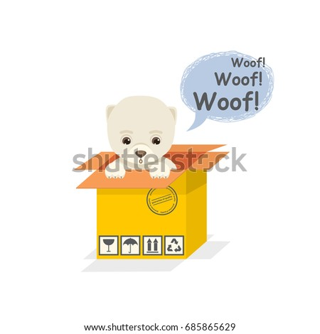 Cartoon dog sits and looks out of a cardboard box and bark in flat style isolated on a white background.Adopt dog concept #685865629