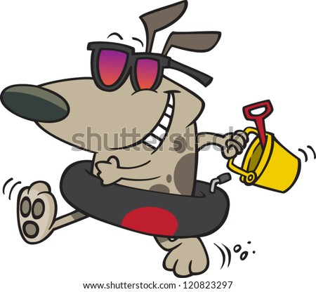 cartoon dog wearing sunglasses and an innertube with a sand pail