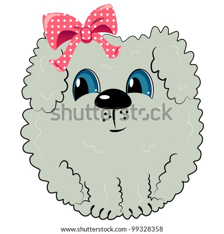 cartoon dog with bow. pet illustration