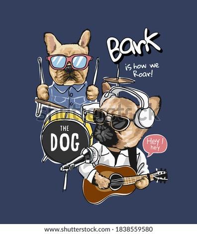 cartoon dog with music instruments illustration
