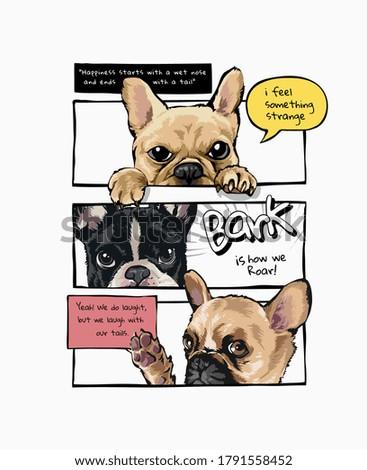 cartoon dogs in comic panel style illustration